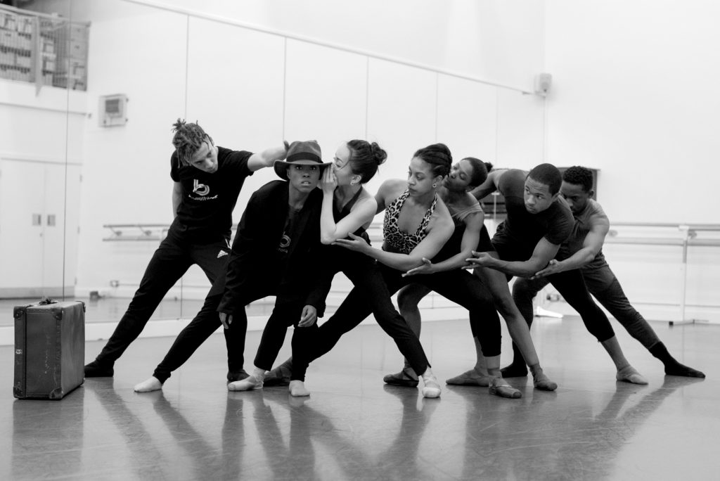 Dancers from Ballet Black rehearse for the performance of The Waiting Game, a contemporary dance production.
