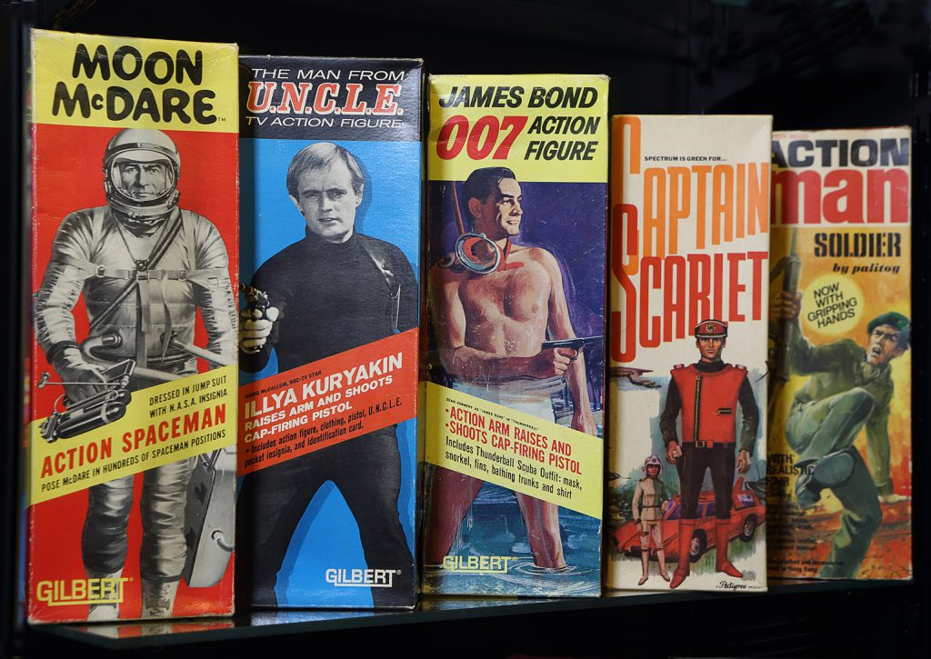 Examples of historic toy packaging from the 1960s at the Museum of Brands